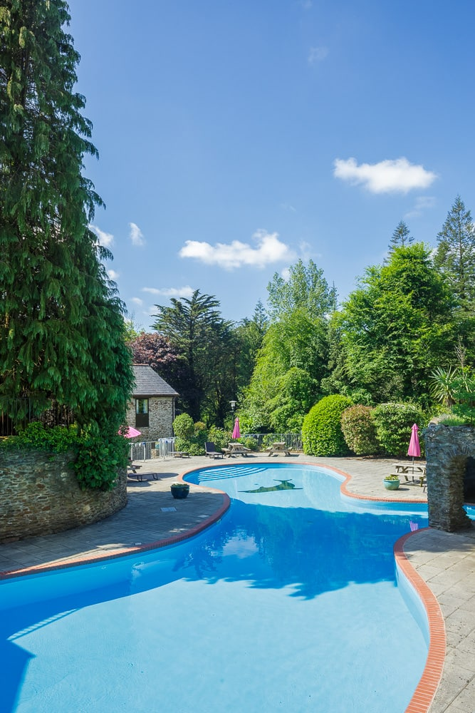 Outdoor Property Photography of a swimming pool on a gloriously sunny Devon summers day
