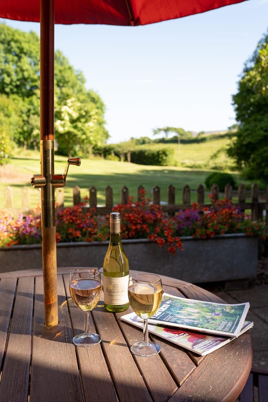 Enjoying wine under the Devon Summer Sun