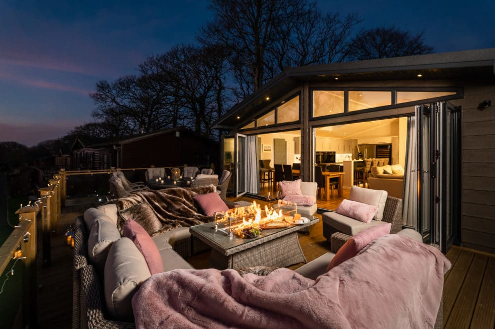 Holiday Lodge Photography, Twilight photo with fire pit